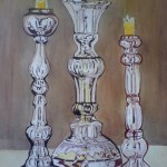 Candlesticks, watercolor on paper SOLD